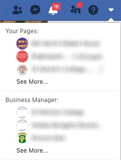 facebook business manager dropdown