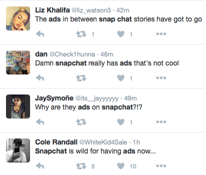 Twitter Users Cursing Snap Ads