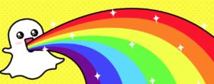 Snapchat ghost barfing rainbows