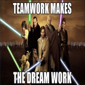 It's a team effort. We use the force to overthrow the Sith.