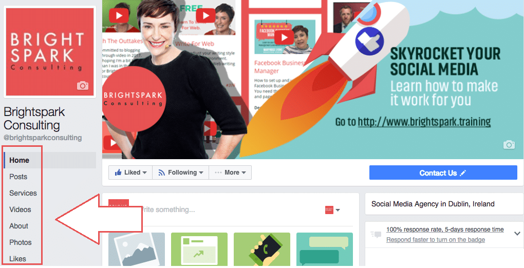 facebook page templates for business pages brightspark consulting