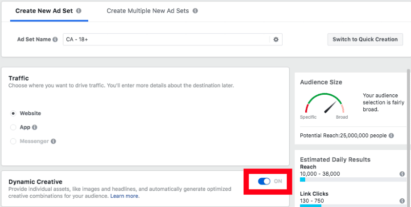 Facebook Dynamic Creative Ad Testing